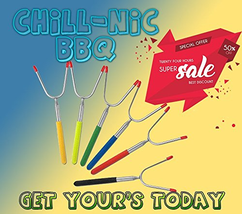 Chill - Nic BBQ Forks Marshmallow Roasting Sticks 7 Units 7 Colors !!! Campfire, Fire Pit, Camping, and Hiking Accessories