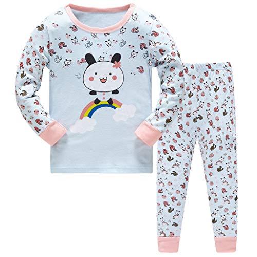 HIKIDS Mädchen Schlafanzug Bär Baumwolle Kinder Langarm Pyjama 98 104 110 116 122 128 134 140