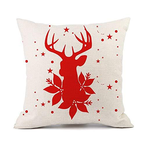 YUNSW Kissenbezug Christmas Elk Santa Claus Red Festlich Bedrucktes Leinenkissen Napping Rückenlehne 2PCS (Ohne Füllung)