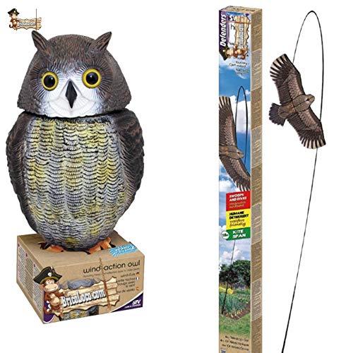 BricoLoco Pack Búho + Cometa espantapájaros. Pack Ahuyentador de pájaros, aves, palomas. Ideal para huerto o jardín.