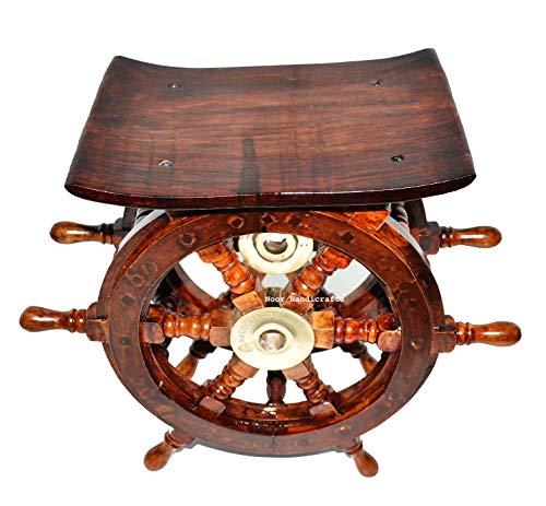 Noor Handicrafts - Tavolino decorativo in legno per la casa, motivo: pirata in ottone anticato, 15 cm