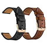 LDFAS Compatible for Fossil 18mm Bands, Leather Watch Strap with Rose Gold Metal Buckle Compatible for Fossil Gen 3/4 Q Venture HR,Sloan HR,Sport (41mm) Smartwatch, Brown+Black (2 Pack)