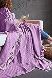 Mixibaby Tagesdecke Wohndecke Wendedecke Kuscheldeck Sofadecke Couchdecke, Farbe Design:Pink Fischgräten Design