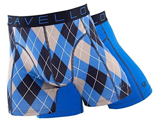 Cavello Boxershorts voor heren, verpakt per 2 stuks, voor heren, ondergoed van katoen van Cavello, boxershorts voor heren, in verschillende kleuren en patronen