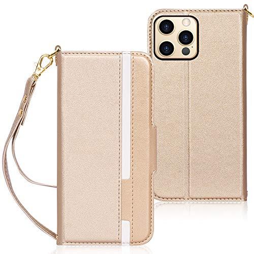 FYY iPhone 12 Pro Hülle 5G,Handyhülle für iPhone 12 Lederhülle [2 Kartenfächer][Standfunktion] flip case für iPhone 12 Pro Tasche,iPhone 12/12 Pro Schutzhülle 6.1'',Gold