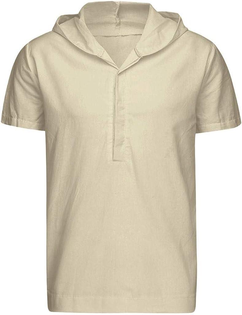 Men's Hoodie Hippie Shirts Beach Soft Cotton Linen Top Yoga Shirt Boho Botton Up Summer Casual Henley T-Shirt