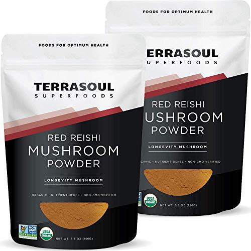 Terrasoul Superfoods Organic Reishi Mushroom Powder (4:1 Extract), 11 Oz (2 Pack) - Immune Boosting | Coffee Enhancer | Deeper Sleep