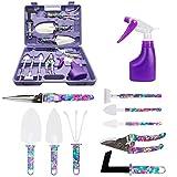 Gartengeräte Set, 10 Tasche Edelstahl Gartenwerkzeug Set mit Aufbewahrungskoffer, Garten Zubehör für Gartenpflege, Garten-Geschenk-Set