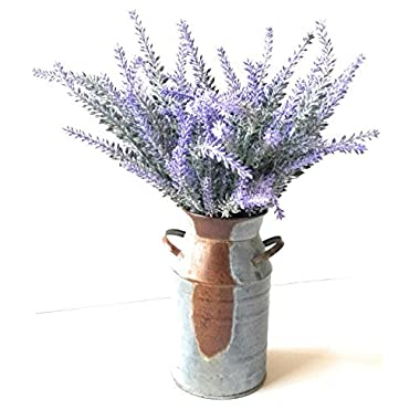 Flocked Lavender Bouquet & Rustic Galvanized Milk Can Vase 7 inch