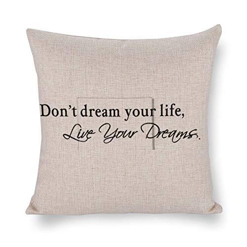 Blafitance Don't Dream Your Life,Live Your Dreams - Funda de almohada decorativa de lino con cita inspiradora, decoración rústica para el hogar, 60 x 60 cm