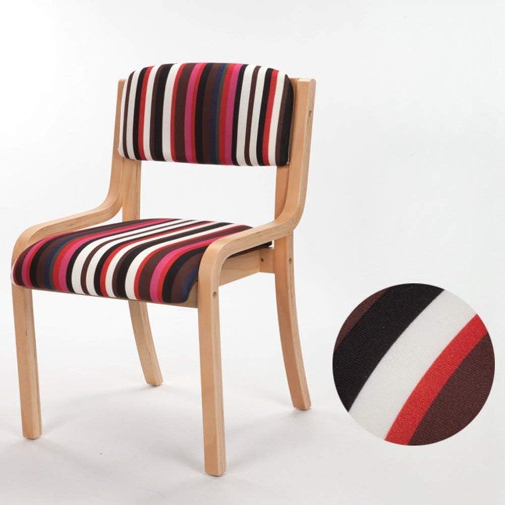 WSY Chaise en Bois Simple, Chaise de Salle à Manger en Cuir à la maisonWSY Red Stripe