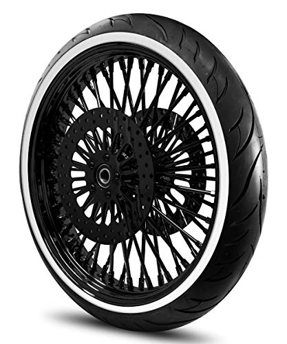 21X3.5 52 Fat Spoke Wheel for Harley Touring Bagger fits 2008-Above Models (w/ABS) w/Tire & Rotors (w/bolts) (All Black & White Wall Tire)