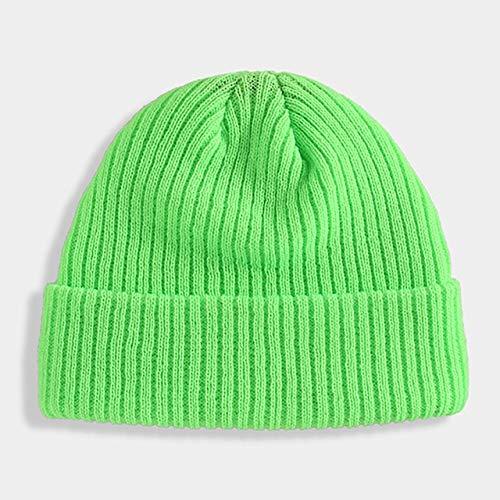 Sombrero de Invierno sólido Hip Hop Beanie Street Gorro de Punto Suave Mujeres Hombres Unisex Casual sólido Calabaza cálido melón Sombrero Beanie-Fluorescent Green