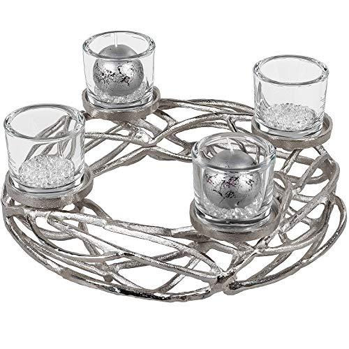 Formano Deko-Leuchter Adventskranz aus Alu, 40cm, rund, 1 Stück, Silber, 4Flammig inkl. Gläser