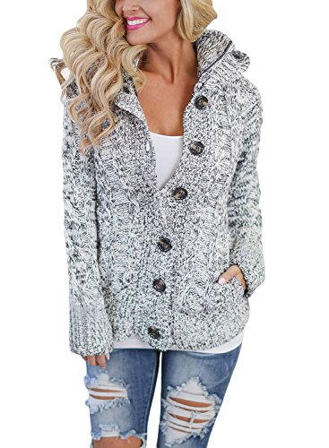 Dokotoo Strickjacke für Damen Grobstrick Kurz Strickcardigan Strickmantel mit Kapuzen Pullover Langarm Taschen Herbst Winter Outwear Cardigan (Grau, Small (EU36-EU38))