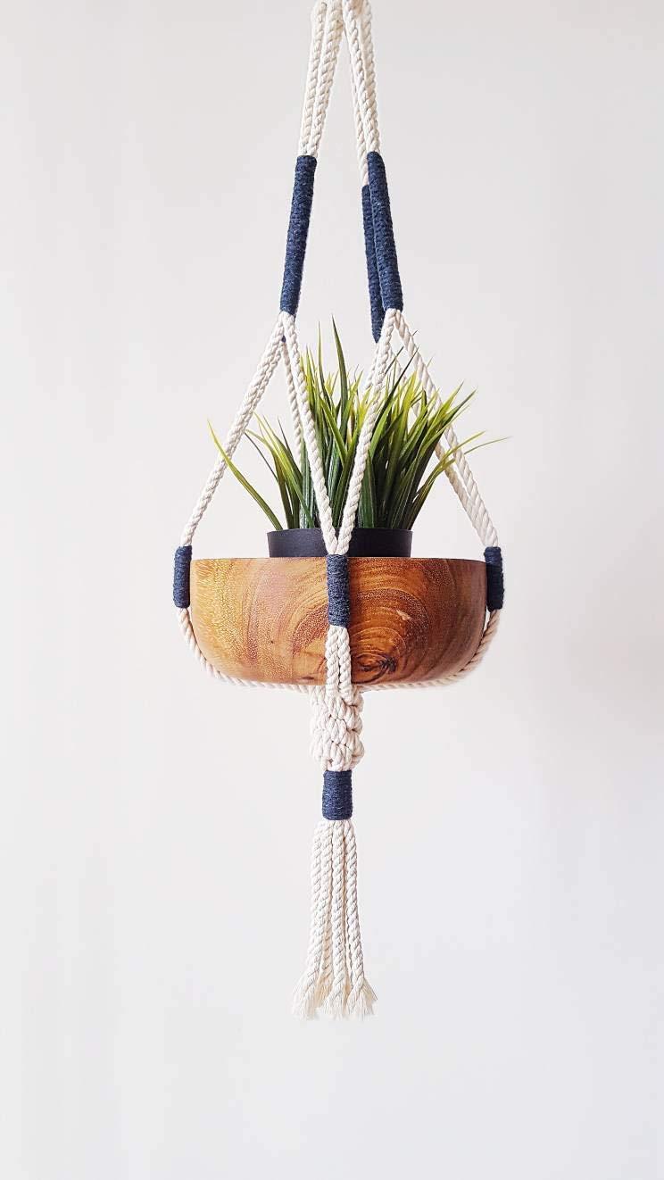 Amazon.com Macrame Plant Hanger, Hanging Planter, Indigo Color ...