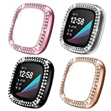 Case for Fitbit Sense/Versa 3-4 Pack Double Row Crystal Diamonds PC Plated Bumper Frame Pr...