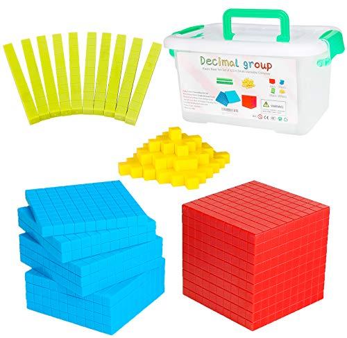 NEOROD 121 PCS Base Ten Blocks for Math Manipulatives Plastic Differentiated Math Counters Class Set, Math Cubes, Kindergarten 1st Grade 2nd 3rd Grade