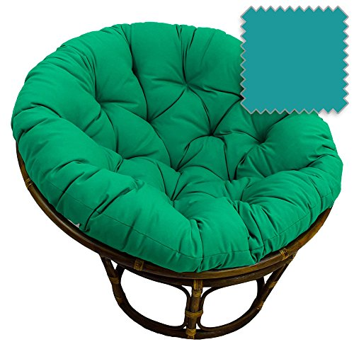 DCG Stores 42-Inch Bali Rattan Papasan Chair with Cushion - Solid Twill Fabric, Aqua Blue Exclusive