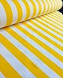 Gelb-weiß gestreifter Stoff–gestreiftes Vorhang- und