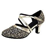 HIPPOSEUS Zapatos de Baile Latino para Mujer con Punta Cerrada Correa Cruzada Salón de Baile Salsa Latina Tango Zapatos de práctica de Baile Tacón bajo,Negro y Oro,38.5 EU