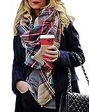 CheChury Bufanda Mujer Suave Caliente Mantas Cozy Bufanda Larga Tartán Enrejado Mantón Grib Grande Chal Cálido Otoño Invierno Moda Bufandas