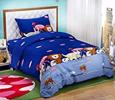 "DIVINE OVERSEAS Kid's Printed Designer Microfiber Bed Sheet with Pillow Cover (60"" x 90"" , Animal Carnival)"