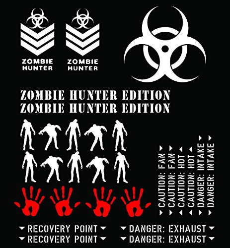 THEME-ZHE-MWHI - Matte White Vinyl Zombie Hunter Edition Theme Package - (29) Piece Kit - Fits Jeep & Toyota Wrangler TJ / LJ / JK / JKU, Cherokee XJ, Grand Cherokee ZJ / WJ / WK / WK2, FJ Cruiser