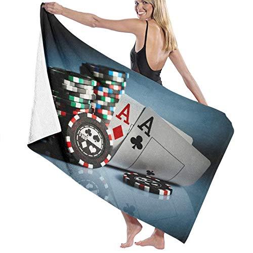 TISAGUER Toalla de baño de Microfibra Foto Fichas de Juego Casino Poker On The Dark Suave Absorbente Hoja de baño de para el hogar,los baños,la Piscina Toallas Baño Toalla de Playa