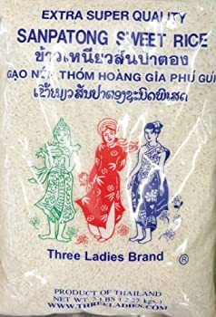 5 Pounds Three Ladies Brand Sanpatong Sweet Rice  One Bag