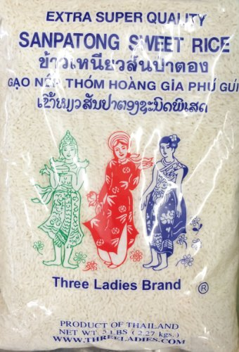 5 Pounds Three Ladies Brand Sanpatong Sweet Rice (One Bag)