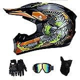 LTongx Erwachsener Motocross Helm MX Motorradhelm ATV Scooter ATV Helm D.O.T Zertifiziert Multicolor...