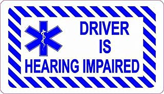 StickerTalk Driver is Hearing Impaired Vinyl Sticker, 3.5 inches by 2 inches