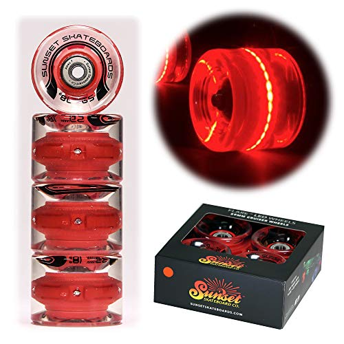 Sunset Skateboard Co. 59mm 78a LED Light-Up Cruiser Wheels (4-Pack) with ABEC-7 Carbon Steel Bearings for Glow-in-The-Dark, All Ages & Skill Levels Skating Fun with No Batteries Required (Red)