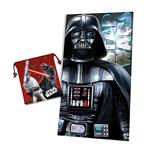 Kids Euroswan Toalla con Diseño Star Wars, Poliéster, Negro, 47x1x44 cm
