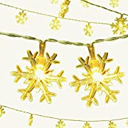 Dailyart 13feet/4m Long Snowflakes String Light Starry Light for Gardens, Home, Wedding, Christmas Party, Battery-powered (warm white)