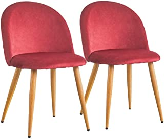 CLIPOP Juego de 2 sillas de Comedor Funda de Tela Aterciopelada, sillas de Cocina, sillas Acolchadas con Patas de Metal de Color Madera, sillas de Comedor para Cocina, salón, Oficina