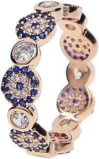 ATJMLADYJEWELRY Rose Gold Plated Lucky Evil Eye cz Eternity Band Ring Turkish Boho Fashion Jewelry #6 7 8