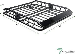 Topline Autopart Universal Modular HD Design Steel Roof Rack Cargo Basket Carrier Travel Luggage Storage with Wind Fairing (Matte Black)