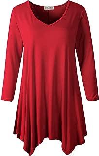 LARACE Womens V-Neck Plain Swing Tunic Top Casual T Shirt