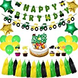 Farm Tractor Theme Party Decorations Set, Tractor Party Supplies for Kids/Boys/Girls Birthday/Baby Shower, Including Tractor Birthday Banner, Tractor Garland, Cake Topper, Balloons, Tassels