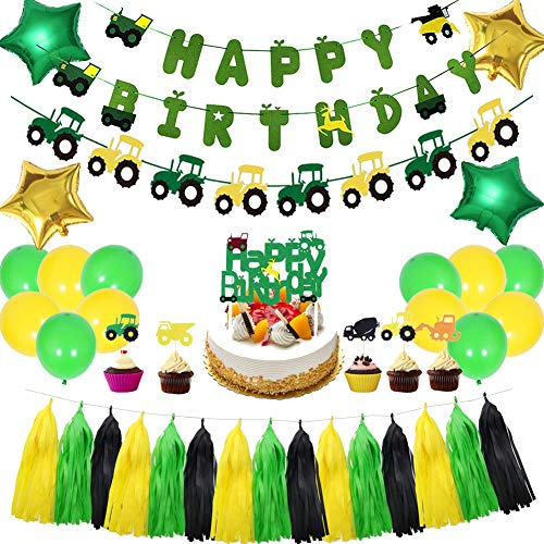 LOCCA Farm Tractor Theme Party Decorations Set, John Deere Party Supplies for Kids/Boys/Girls Birthday/Baby Shower, Includes Tractor Birthday Banner, Tractor Garland, Cake Topper, Balloons, Tassels