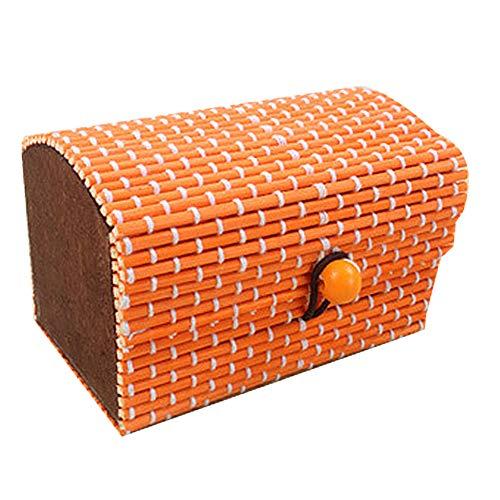 ZHOUBA - Joyero de madera de bambú creativa para anillos, pendientes, collares, pendientes, artículos de almacenamiento naranja