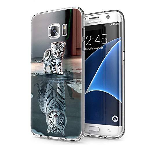 Zhuofan Plus Samsung Galaxy S7 Edge Hülle, Silikon Transparent Schutzhülle mit Muster Motiv Handyhülle Weiche TPU 360 Kratzfest Durchsichtige Case Cover für Samsung S7 Edge 5,5