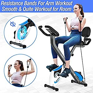 cycool Folding Exercise Bike 3 in 1 Indoor Stationary X-Bike Foldable Magnetic Cycling with Twister Plate and Arm Resistance Bands for Home Workout Use