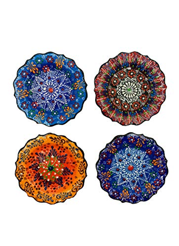 "Ayennur Turkish Decorative Plates Set of 4-5.12"" Multicolor Handmade Ceramic Ornament for Home&Office Wall Decors"