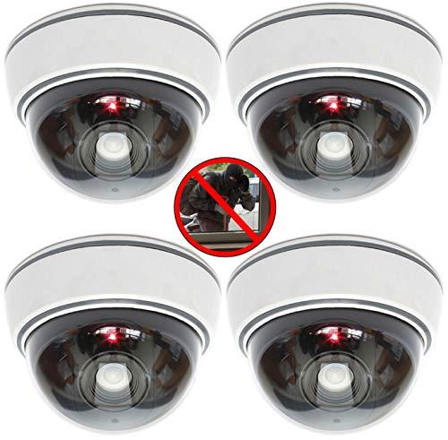 4X professionelle Domkameras Dummy mit Blinkler Kamera Attrappe mit Objektiv und Blinkled Videoüberwachung Warensicherung