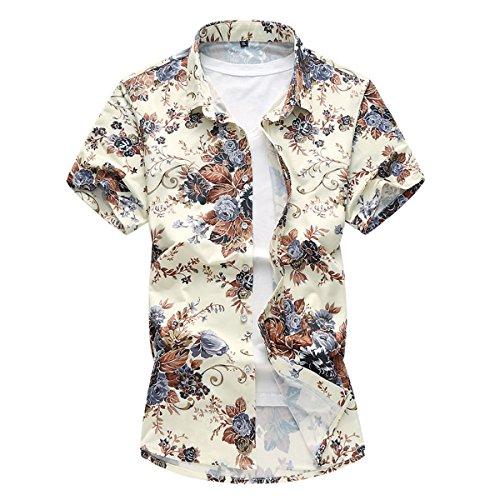 YOUTHUP Herren Freizeit Hawaii-Print Sommerhemd Kurzarm Hawaiihemd Blumen-Strand Hemden