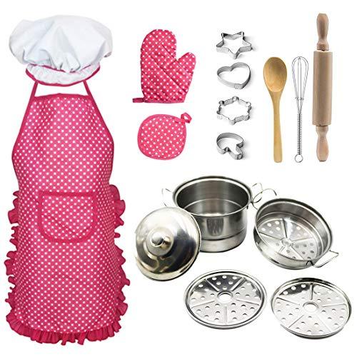 Foxom 16 Piezas Cocinitas Juguete - Juegos de Imitación - Accesorios Cocina de Juguete con Delantales y Utensilios para Infantil Niños