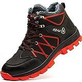 SROTER Mujer Hombre Invierno Botas de Seguridad Trabajo Zapatillas con Puntera de Acero Impermeables Botas de Nieve Zapatos de Trabajo Entrenador Unisex Zapatillas de Senderismo Rojo 45 EU
